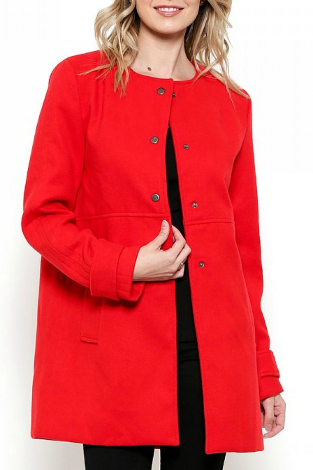 Esley Collection Red Structured Coat - Front Cropped Image