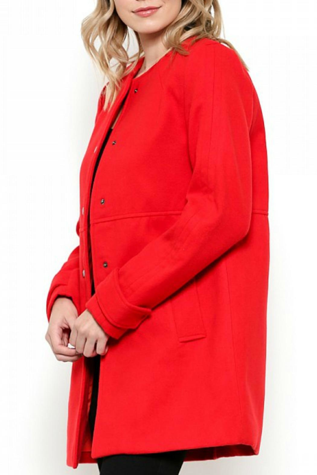 Esley Collection Red Structured Coat - Front Full Image