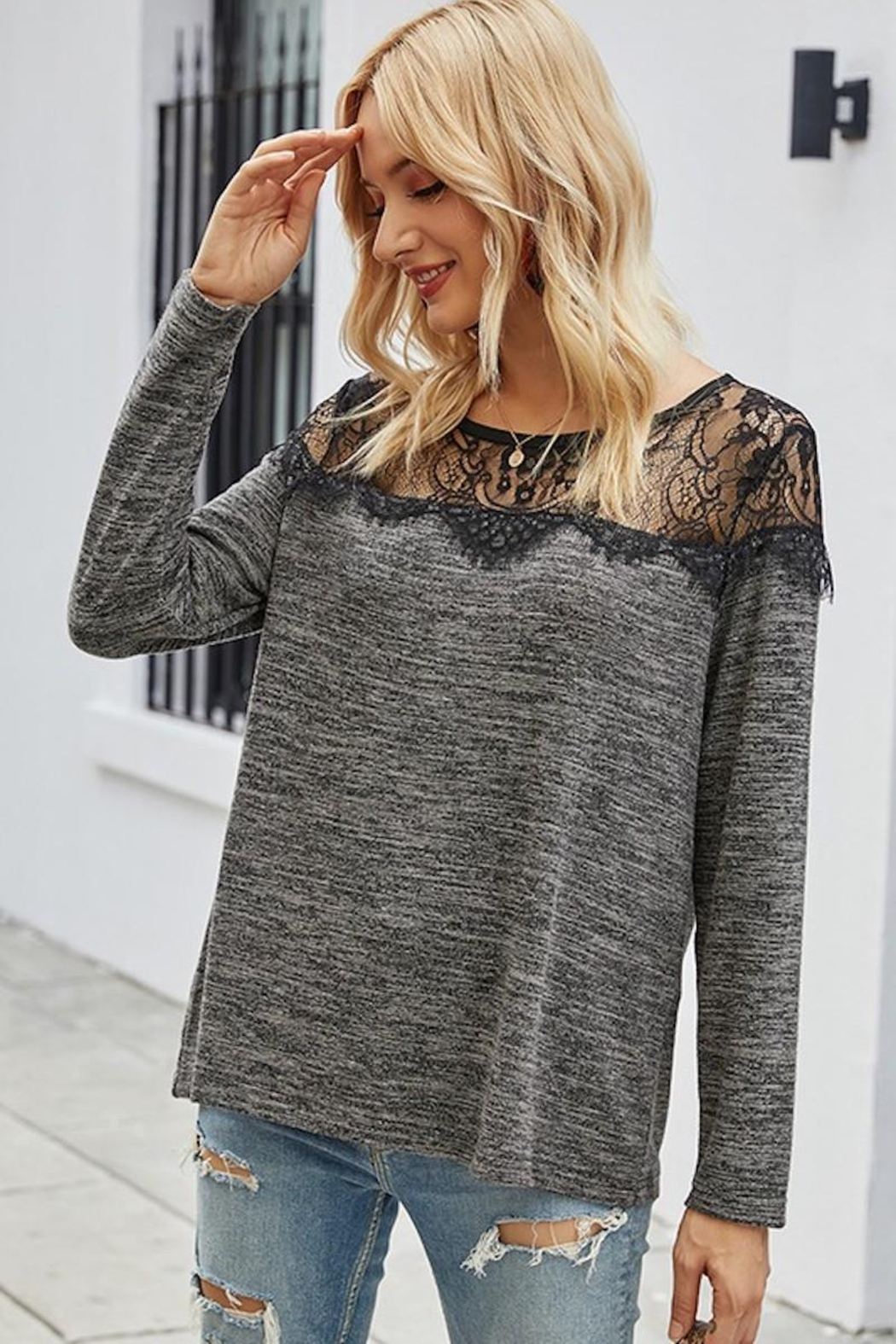 Esley Collection Sweetest Lace Shoulders - Back Cropped Image