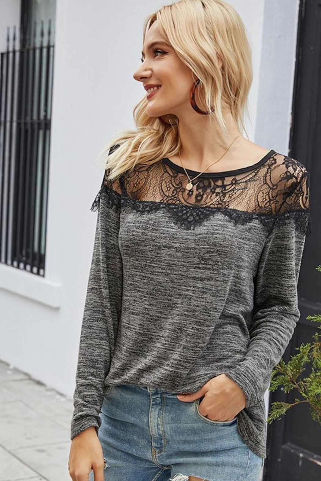 Esley Collection Sweetest Lace Shoulders - Side Cropped Image