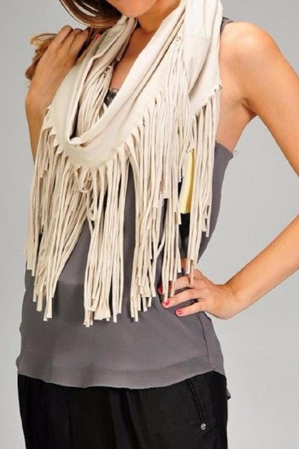 Esley Collection The Rebecca Fringe Scarf - Front Full Image