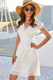 Esley Collection White Cut Out Dress - Product Mini Image
