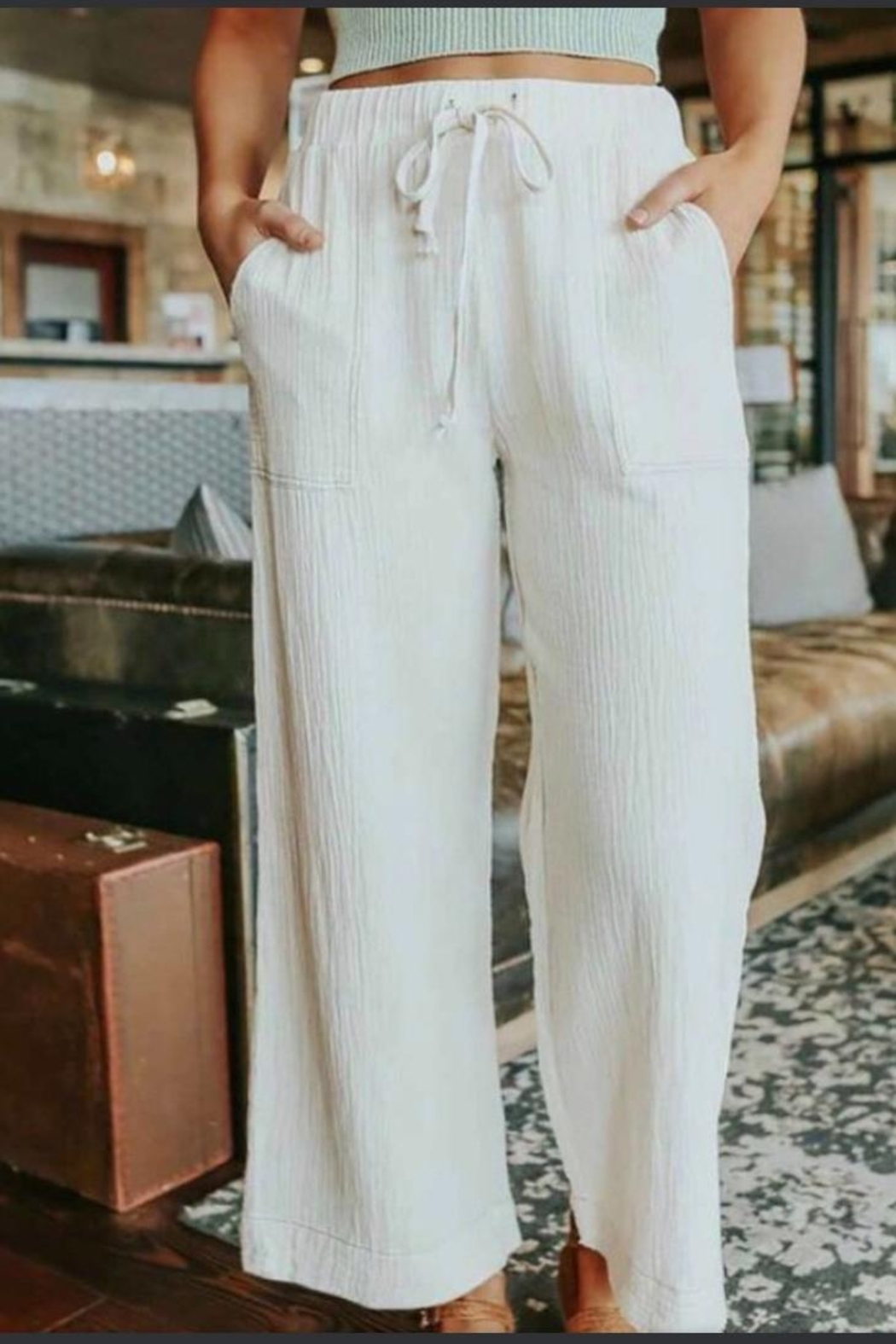 Esley Collection White Flare Pants - Main Image