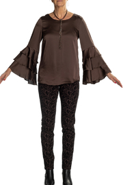 INSIGHT NYC Espresso Ruffle Bell Slv Blouse - Product Mini Image