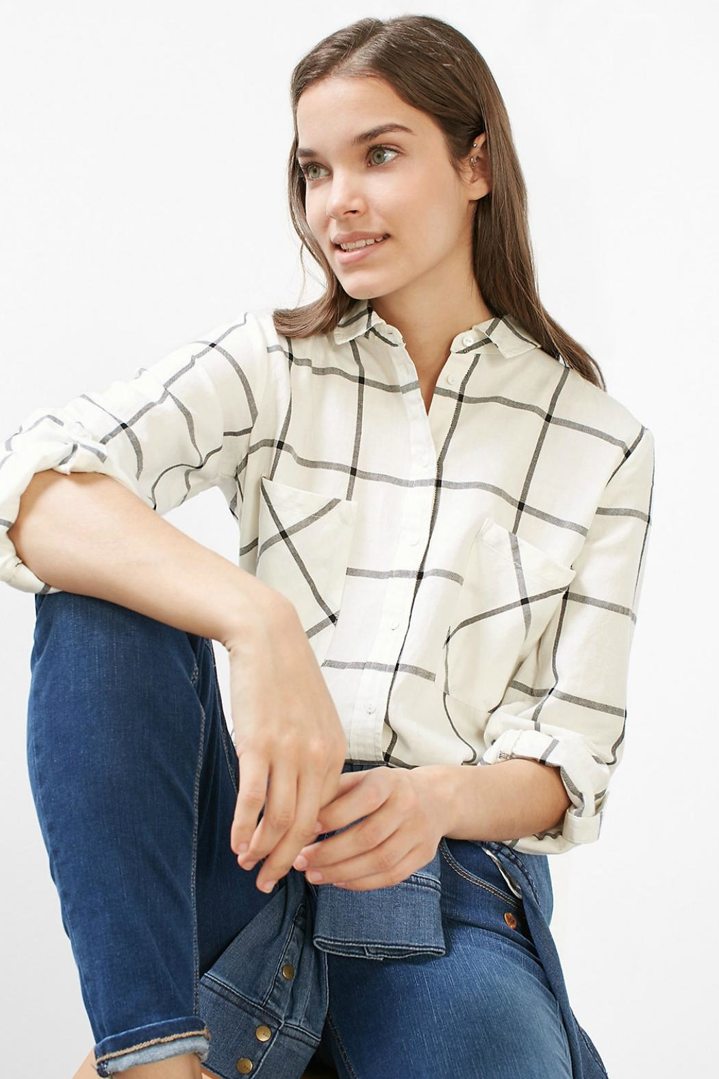 Esprit Plaid Woven Top - Back Cropped Image