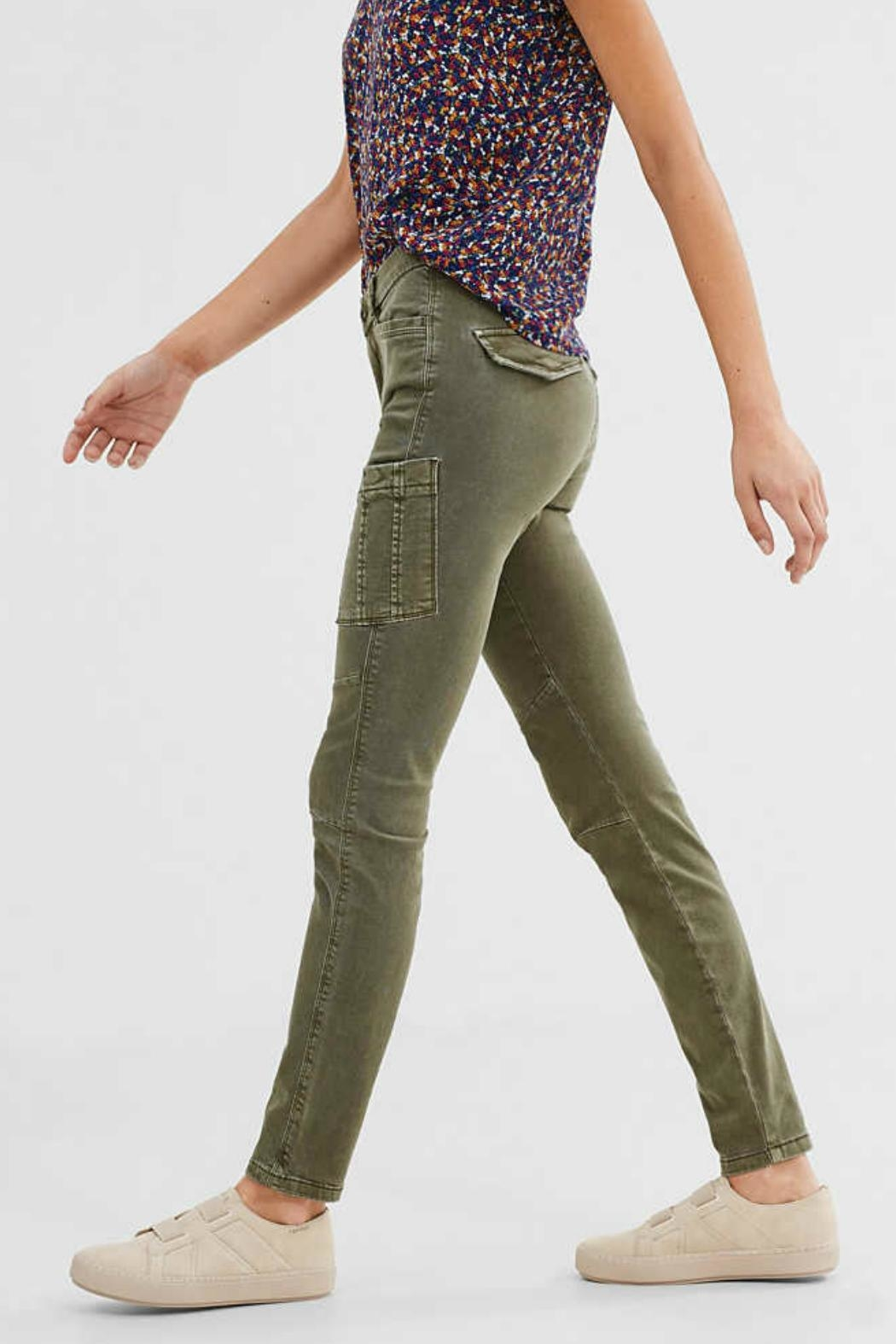 ESPRIT jewel Khaki Woven Pants - Side Cropped Image