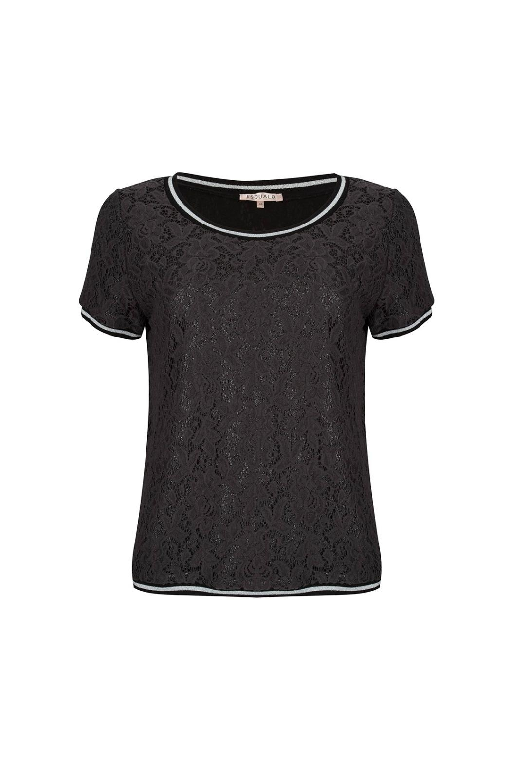 EsQualo Lace Metallic Top - Front Cropped Image
