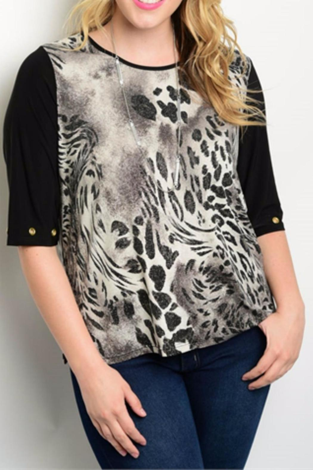 Essential Plus Size Animal Top - Front Cropped Image