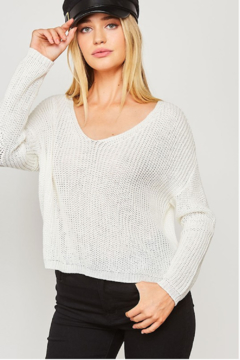 Peach Love California Essential V-Neck Knit - Alternate List Image