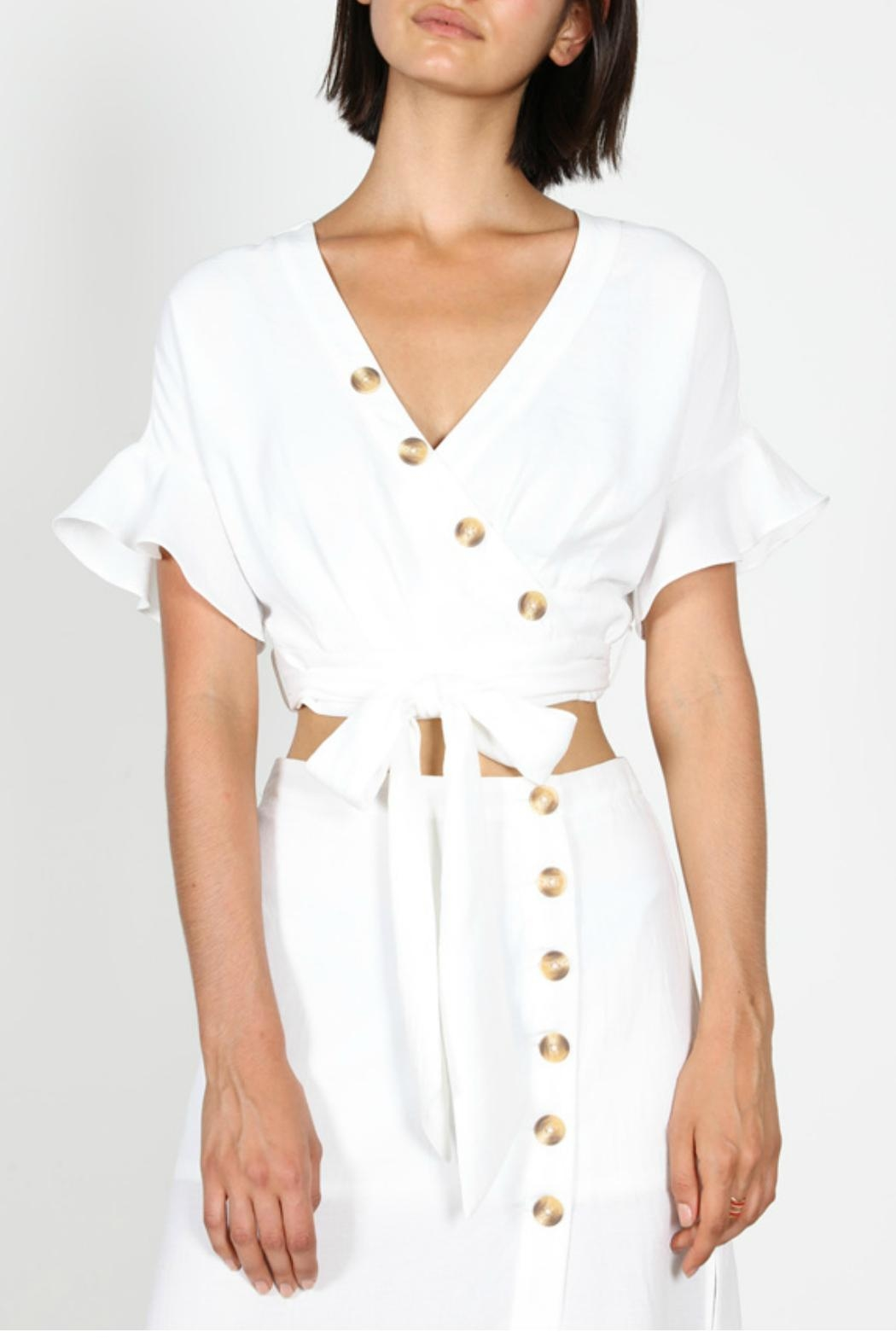 essue Button Wrap Blouse - Front Full Image