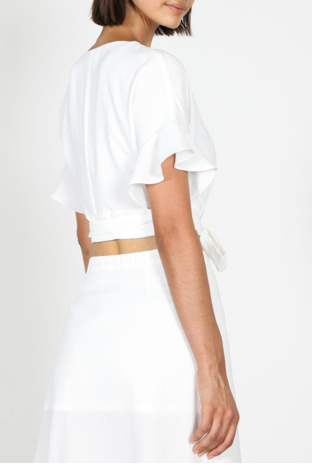 essue Button Wrap Blouse - Back Cropped Image