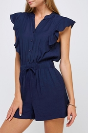 essue Drawstring Ruffle Romper - Front cropped