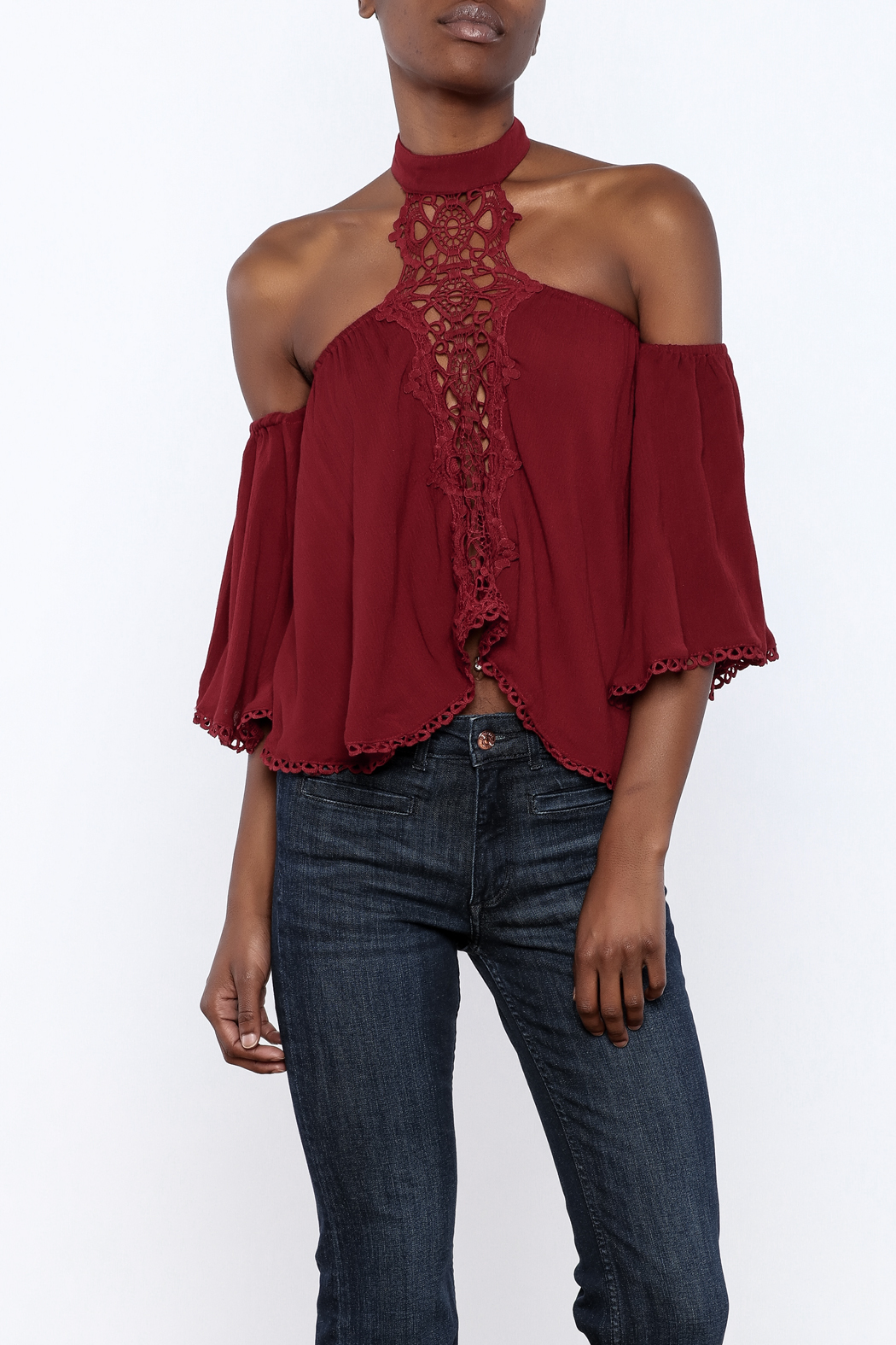 essue Goddess Lace Choker Top - Front Cropped Image