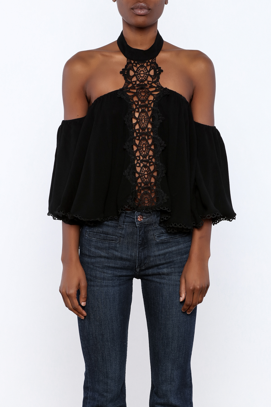 essue Goddess Lace Choker Top - Side Cropped Image
