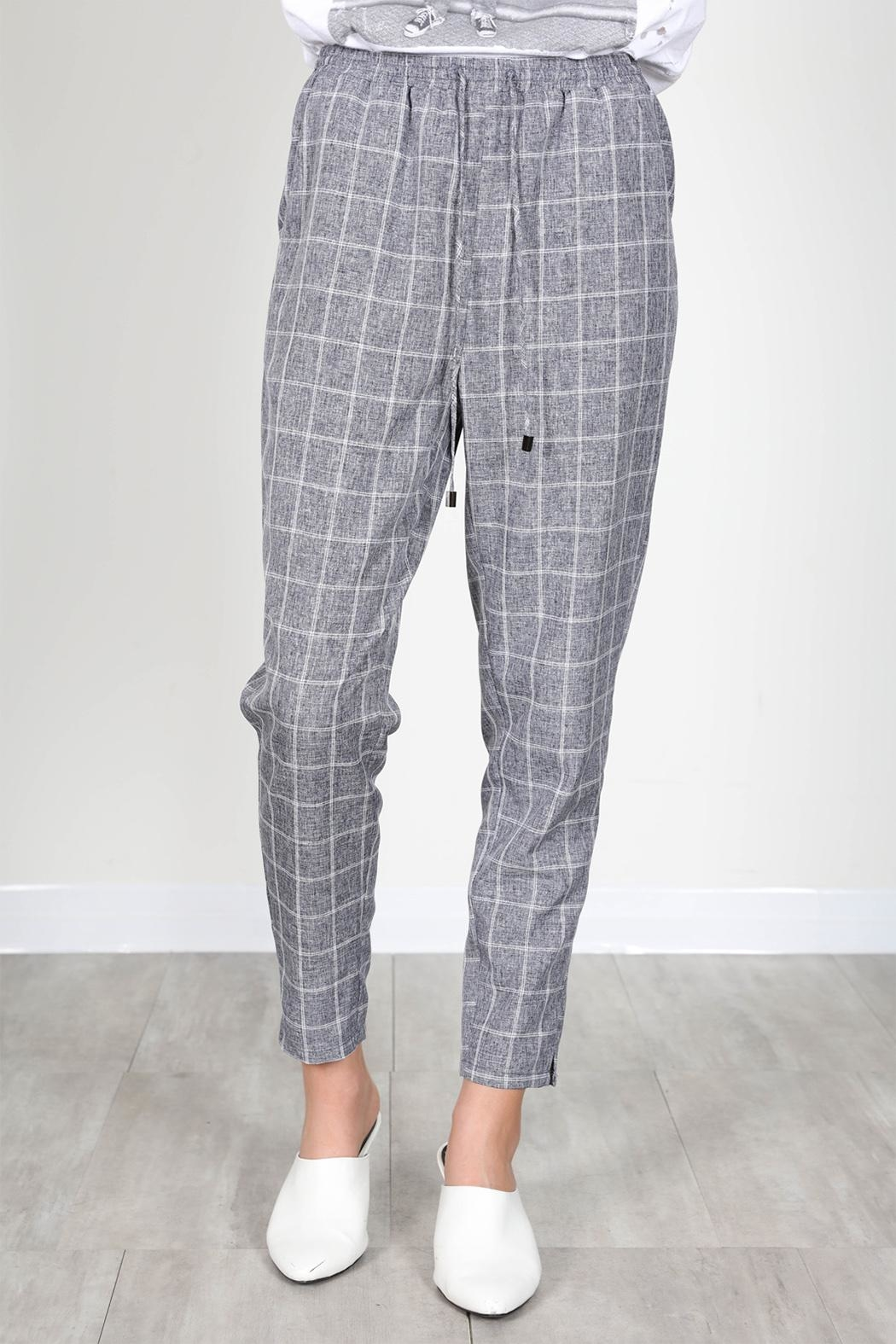 essue Grey Check Trousers - Main Image