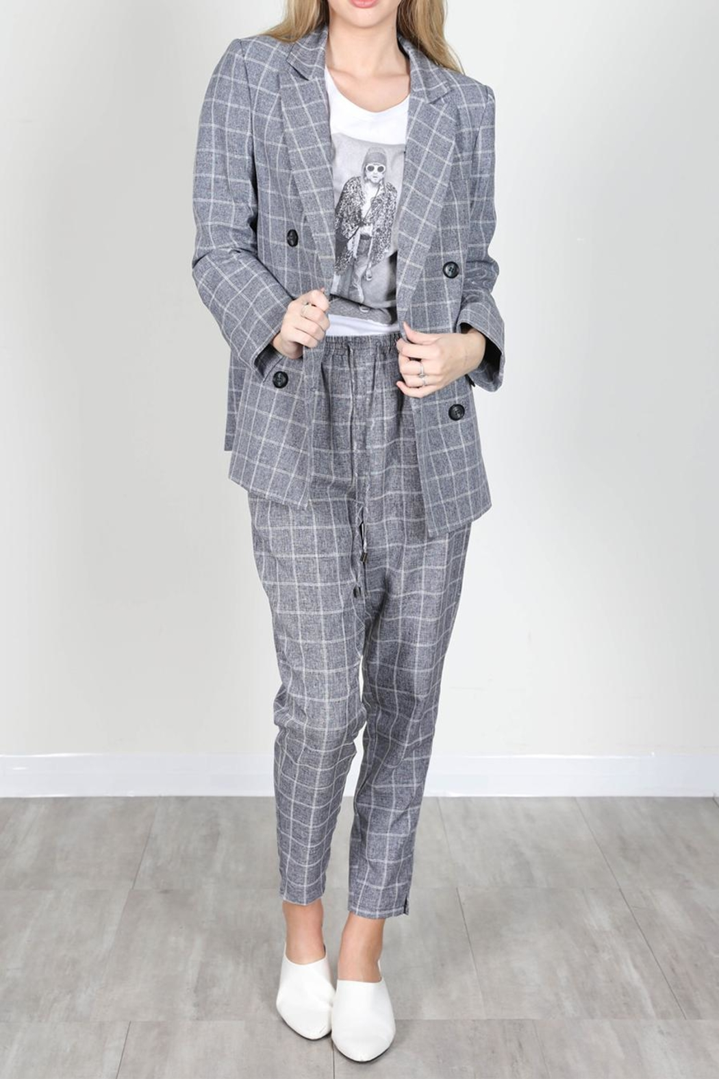 essue Grey Check Trousers - Front Full Image