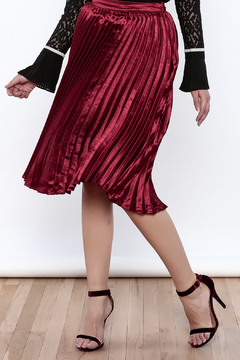 Shoptiques Product: Red Satin Pleated Skirt
