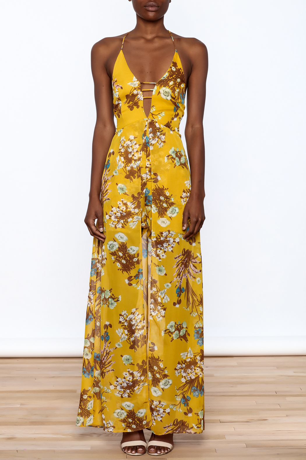 essue Mustard Maxi Romper - Front Cropped Image