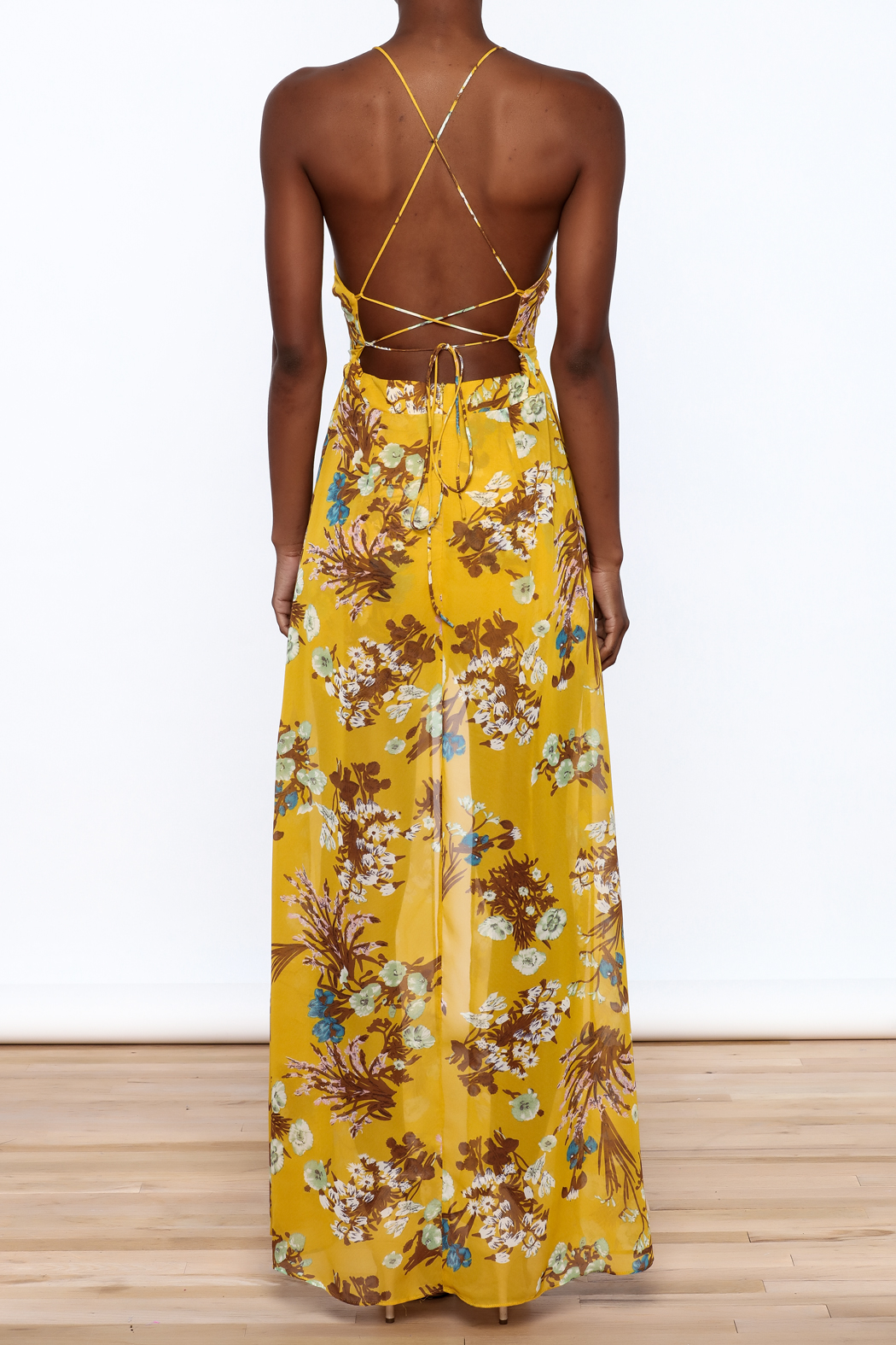 essue Mustard Maxi Romper - Back Cropped Image
