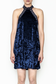 Shoptiques Product: Navy Velvet Halter Dress
