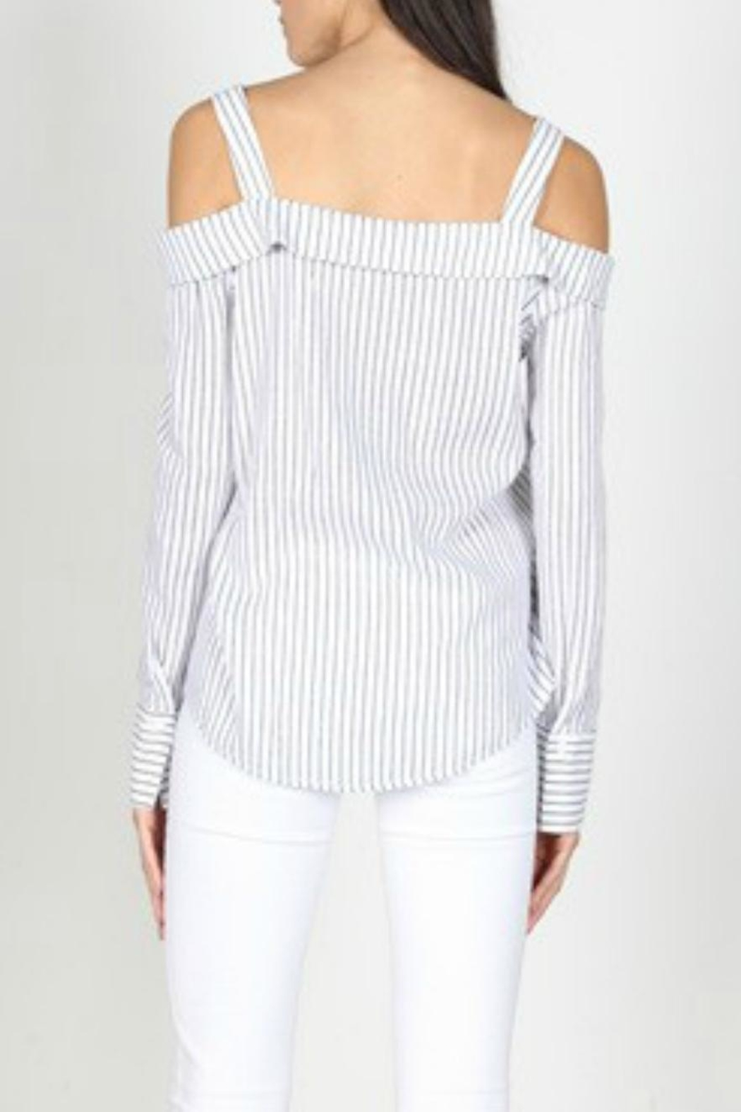 essue Off-Shoulder Stripe Poplin - Side Cropped Image