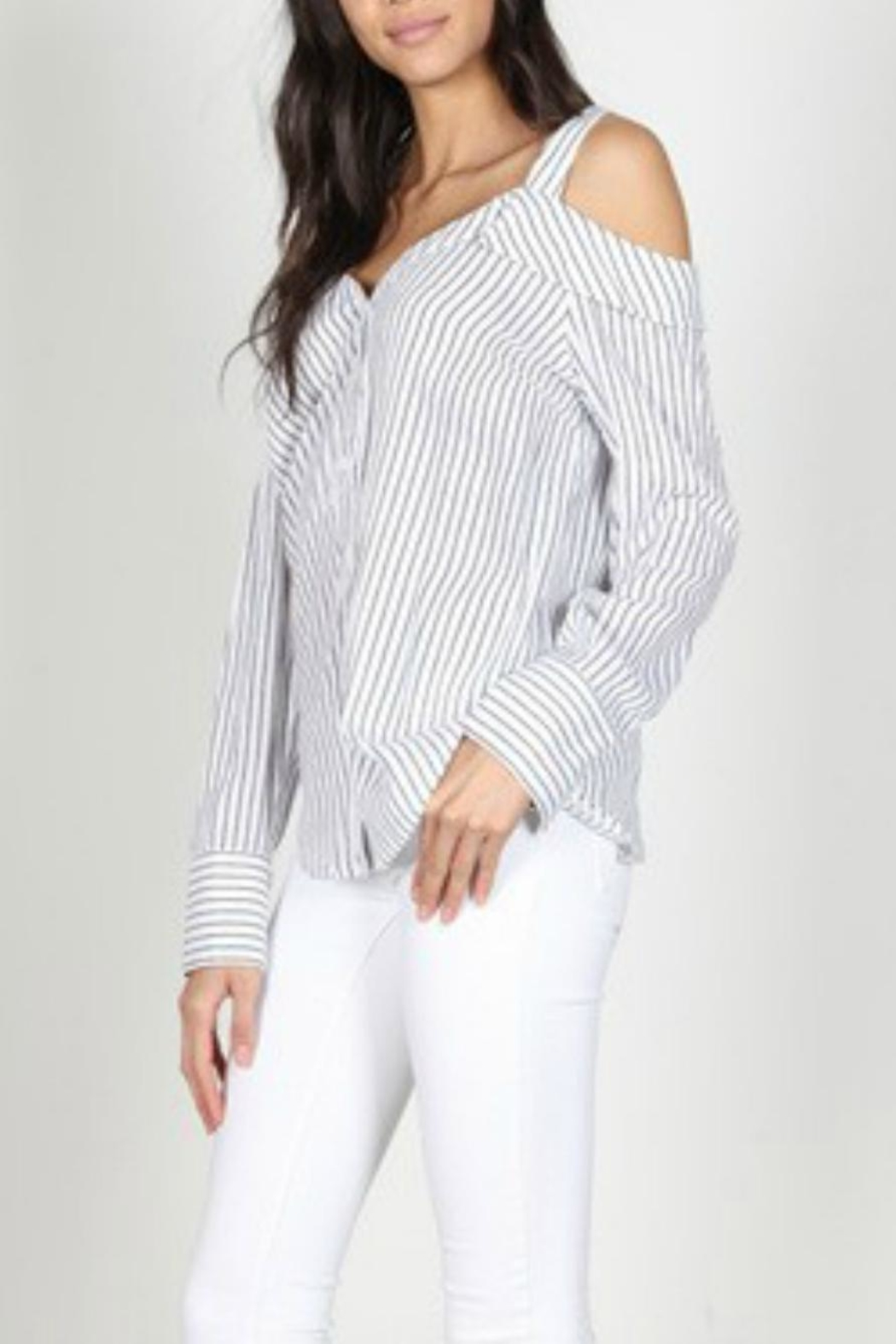 essue Off-Shoulder Stripe Poplin - Front Full Image