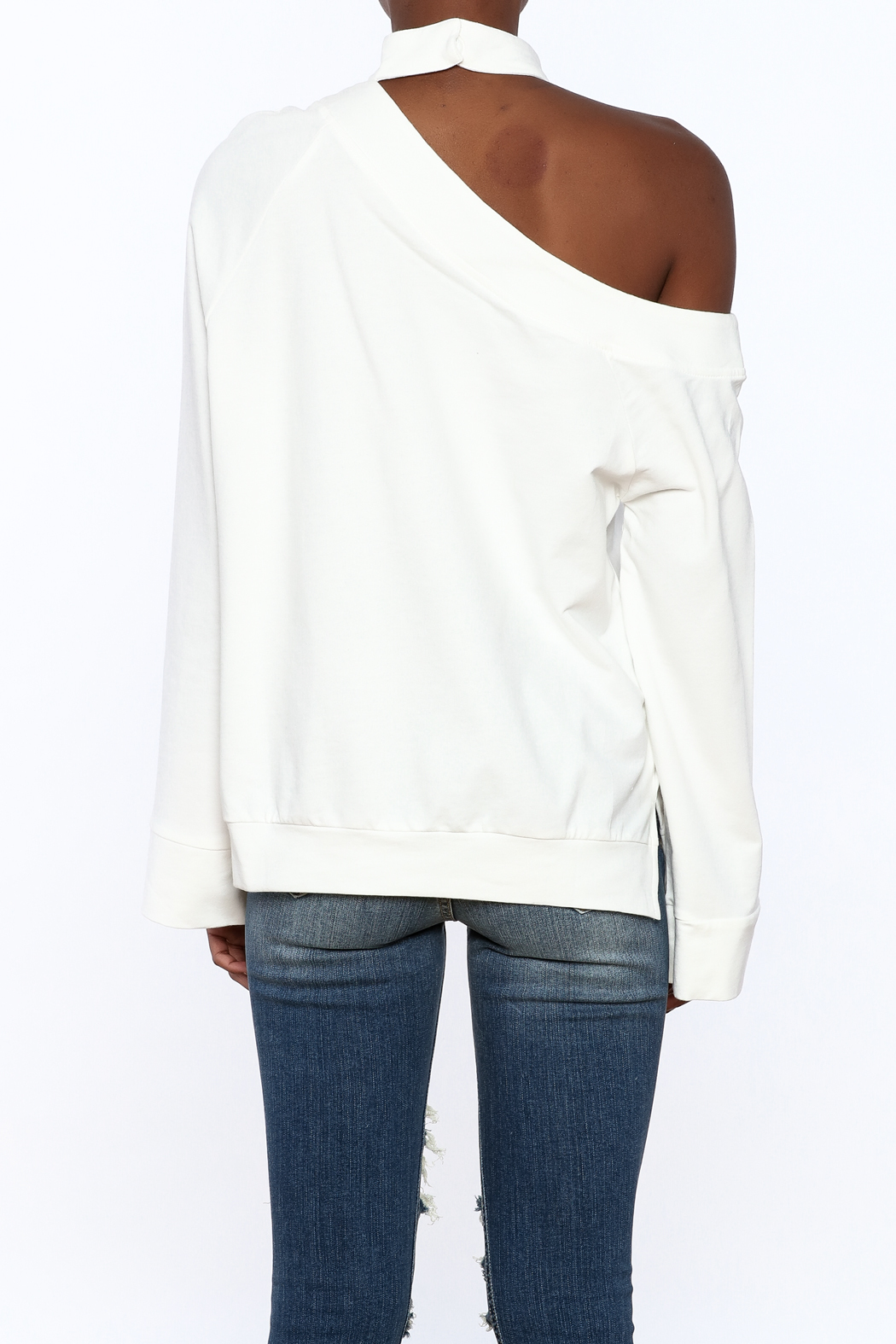 essue White One-Shoulder Top - Back Cropped Image
