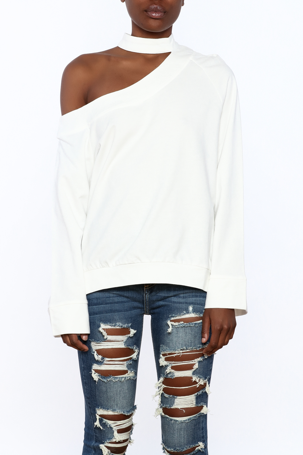 essue White One-Shoulder Top - Side Cropped Image