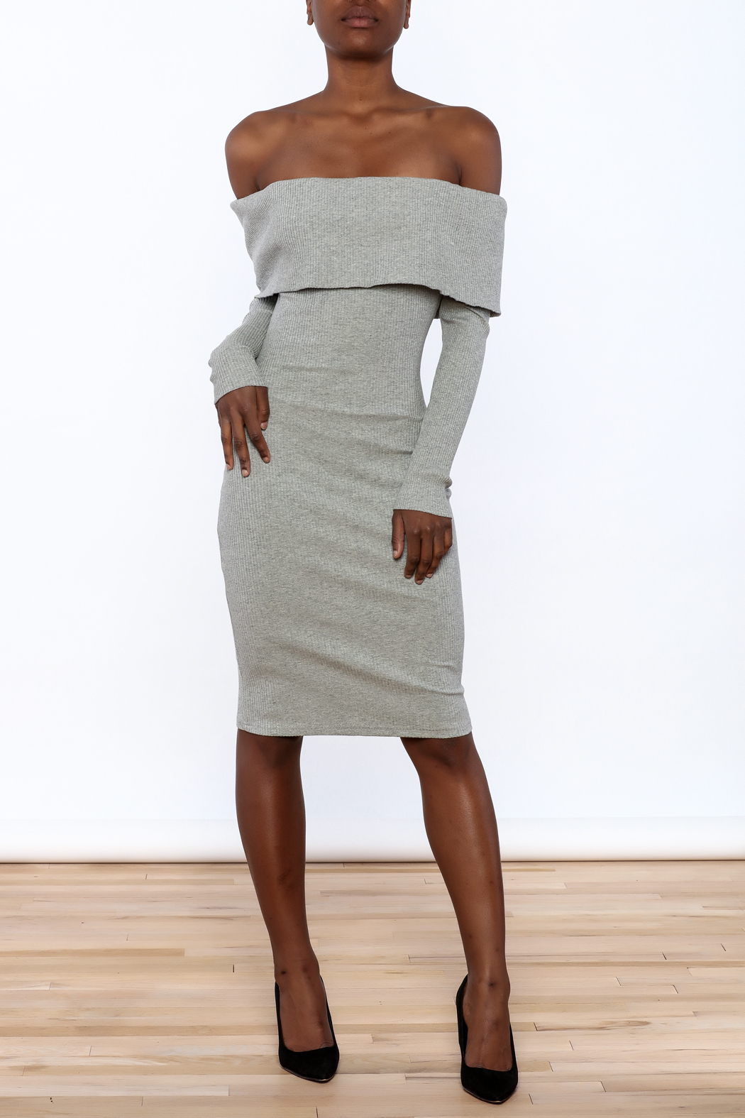 essue Ribbed Knee Dress - Front Full Image