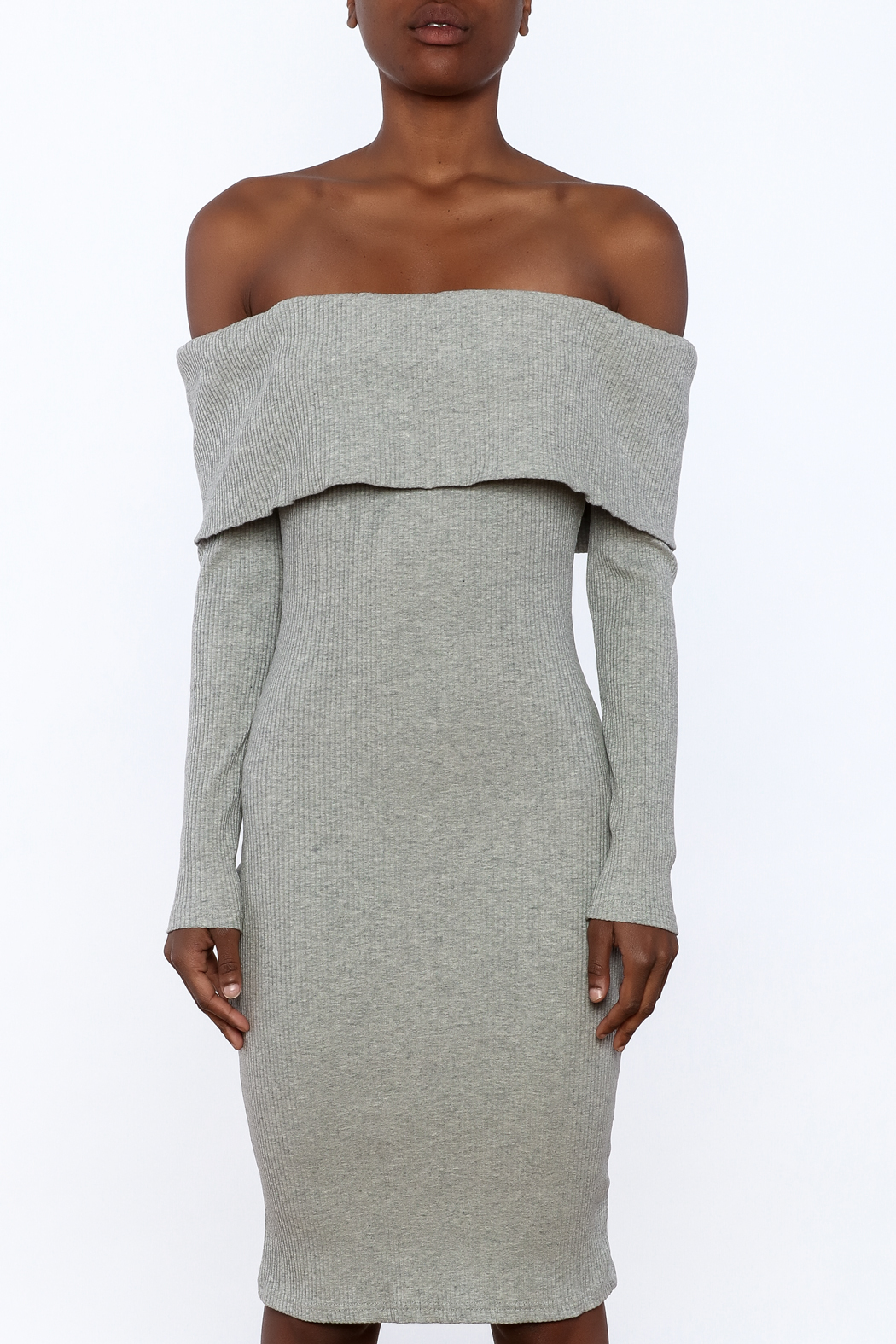 essue Ribbed Knee Dress - Side Cropped Image