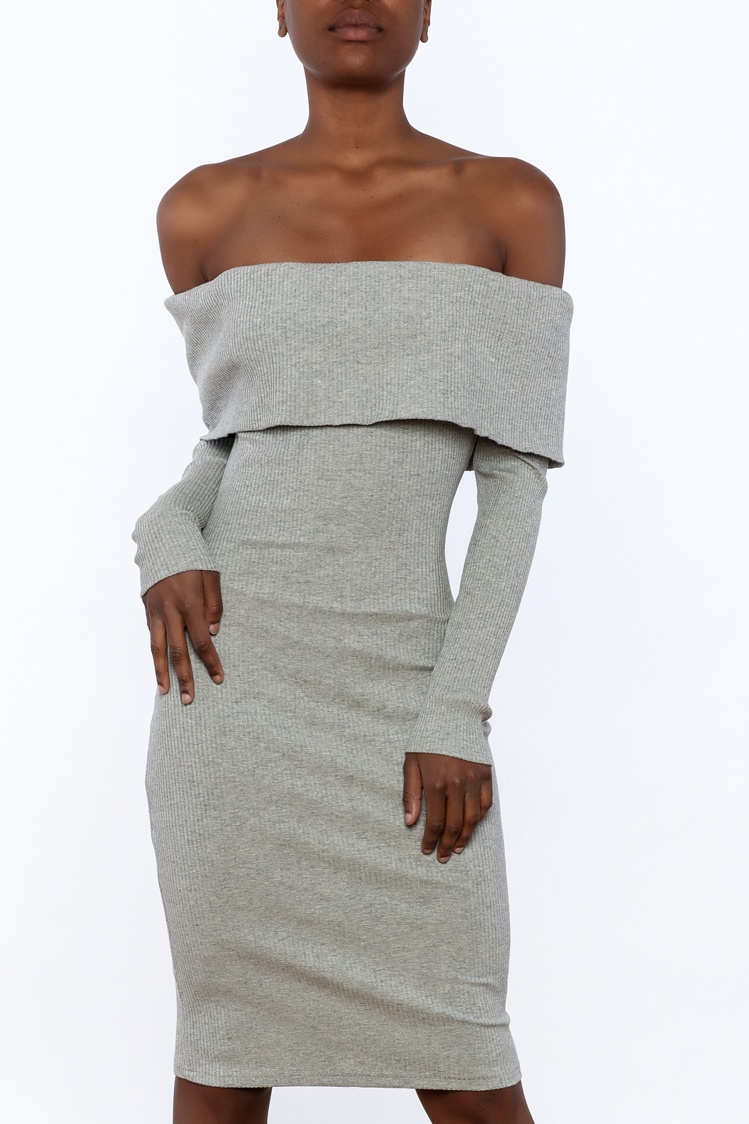 essue Ribbed Knee Dress - Front Cropped Image