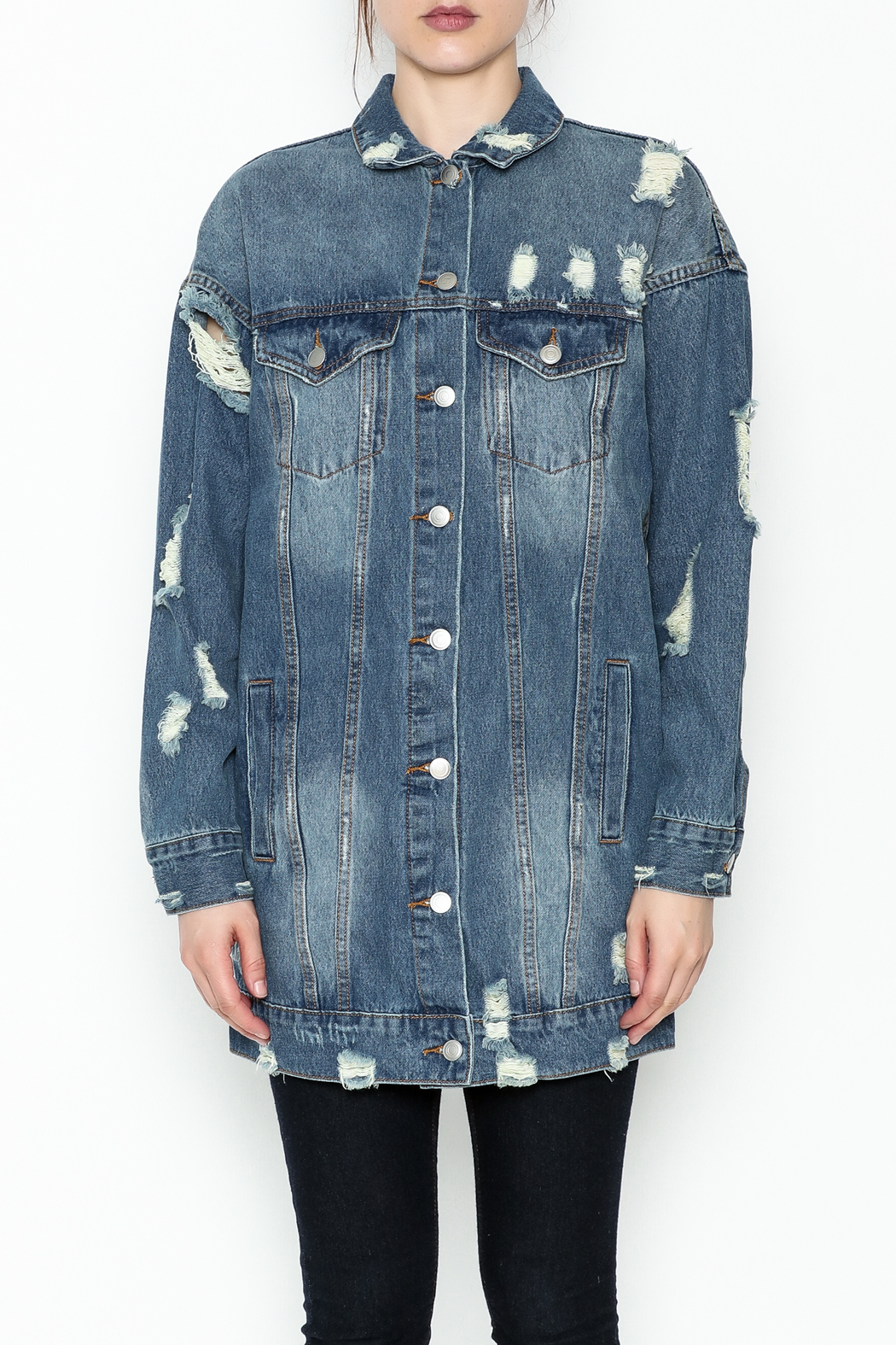 essue Oversized Denim Jacket - Front Full Image