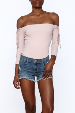Shoptiques Product: Ribbed Off Shoulder Bodysuit