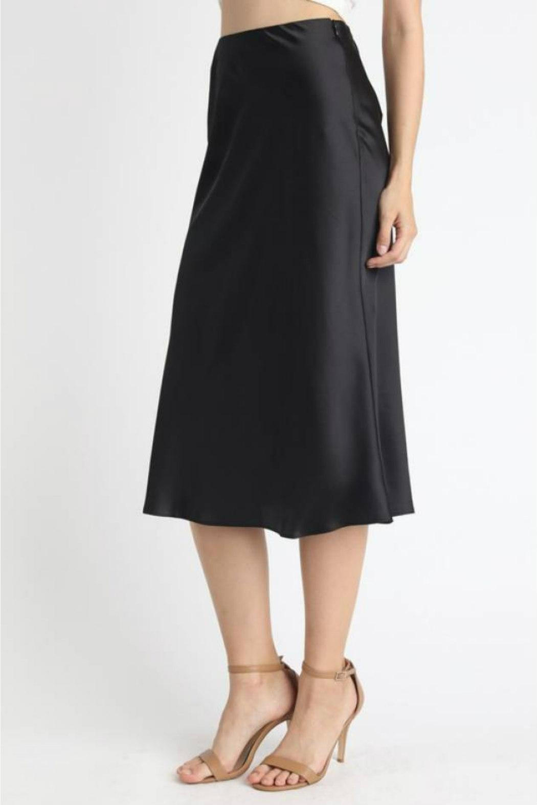 essue Satin Midi Skirt - Front Full Image
