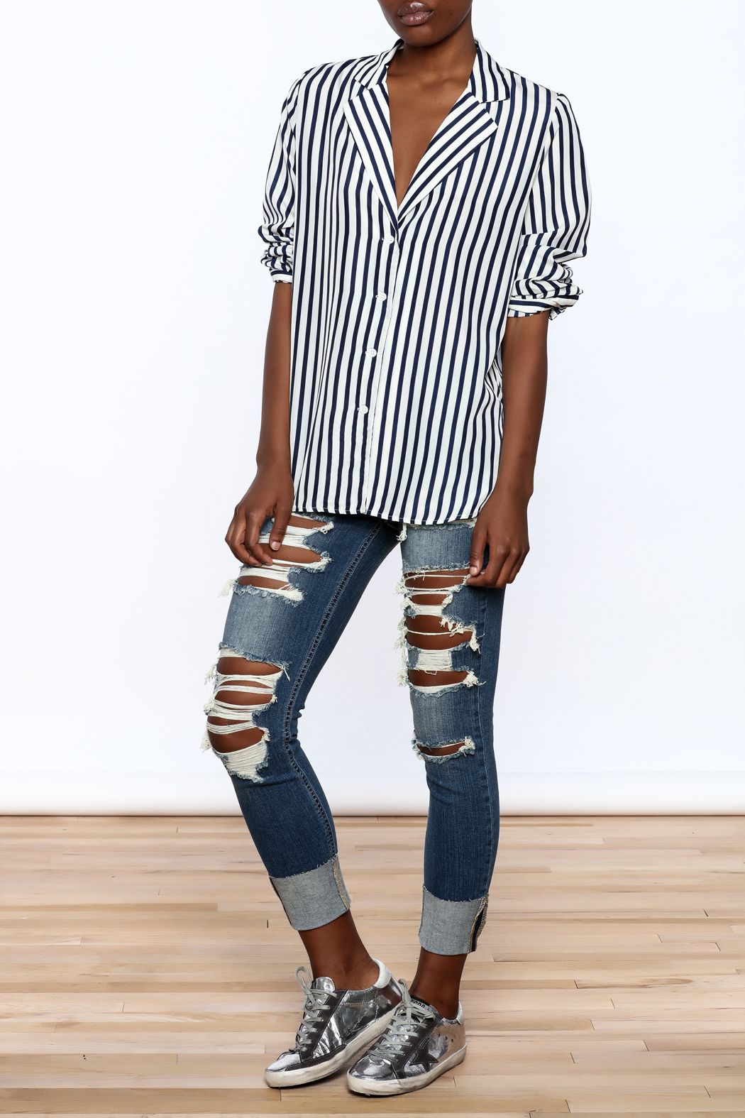 essue Stripe Button-Down Top - Front Full Image