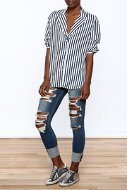essue Stripe Button-Down Top - Front full body