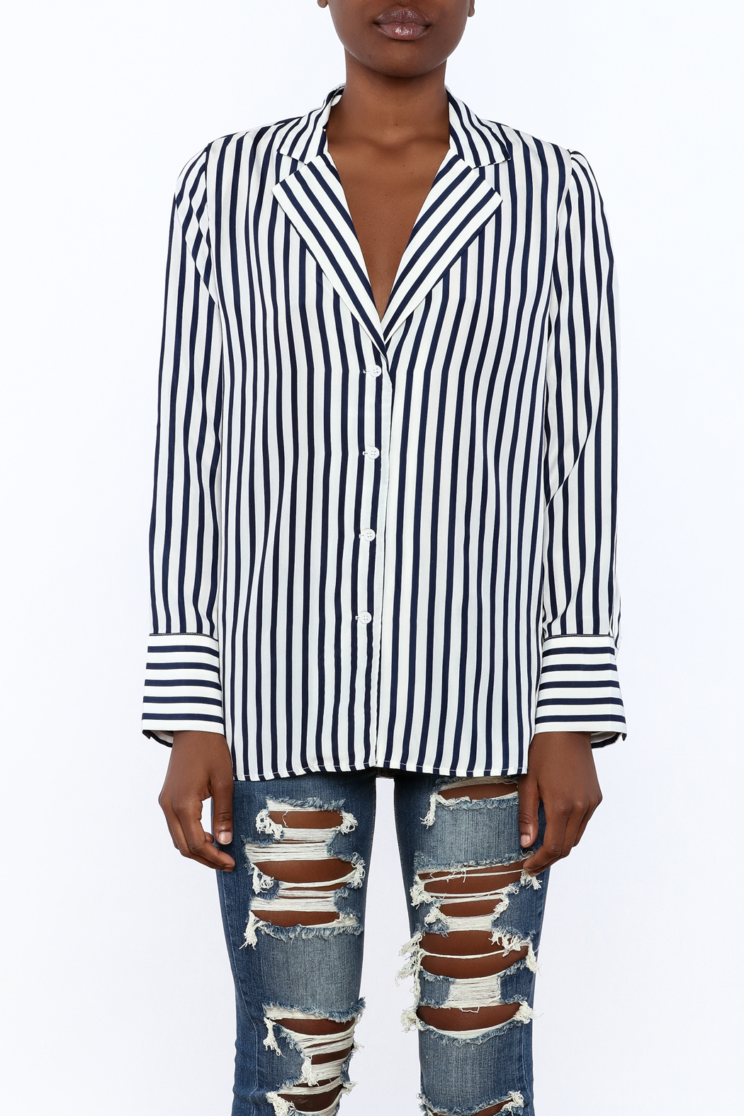 essue Stripe Button-Down Top - Side Cropped Image