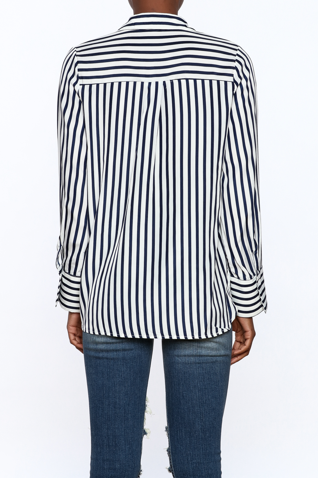 essue Stripe Button-Down Top - Back Cropped Image