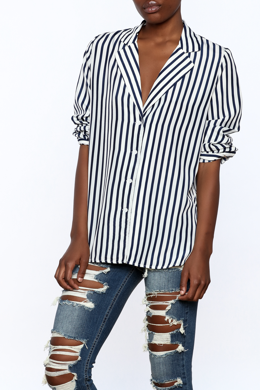 essue Stripe Button-Down Top - Front Cropped Image