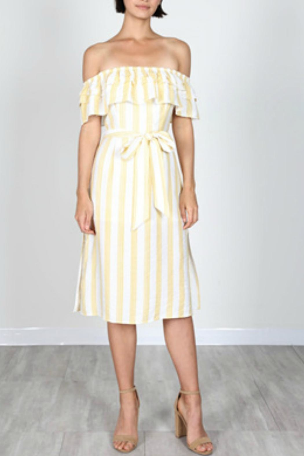 essue Stripe Midi Dress - Front Cropped Image