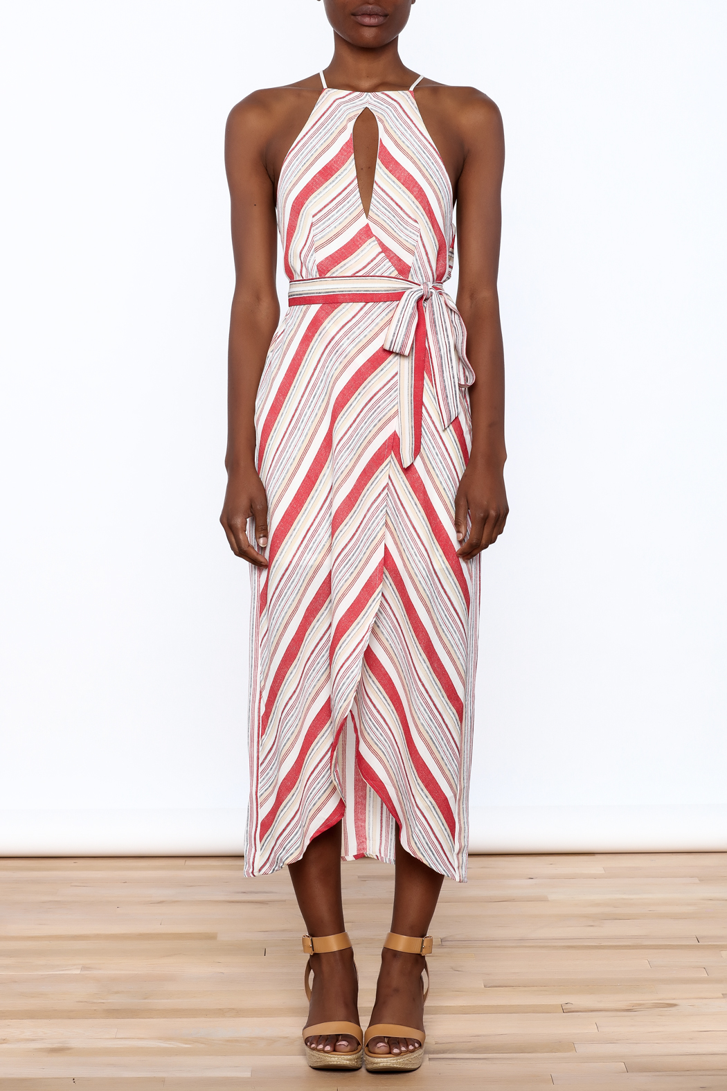 essue Red Stripe Sleeveless Dress - Front Cropped Image