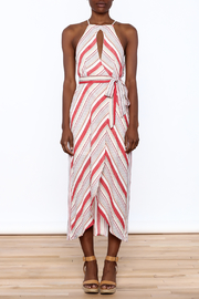 essue Red Stripe Sleeveless Dress - Front cropped