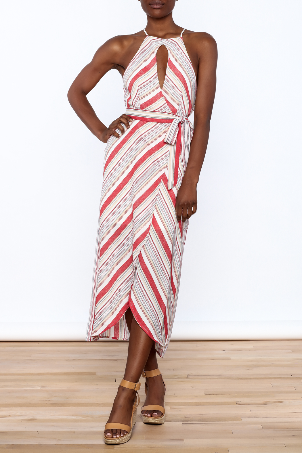 essue Red Stripe Sleeveless Dress - Front Full Image