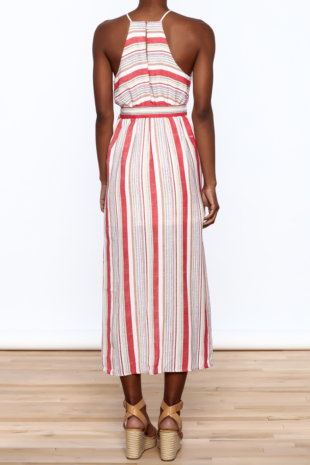 essue Red Stripe Sleeveless Dress - Back Cropped Image