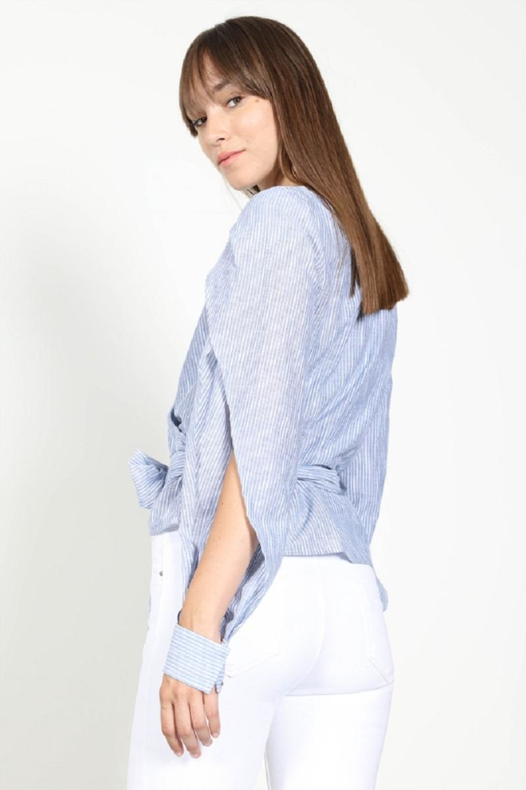 essue Stripe Wrap Top - Back Cropped Image