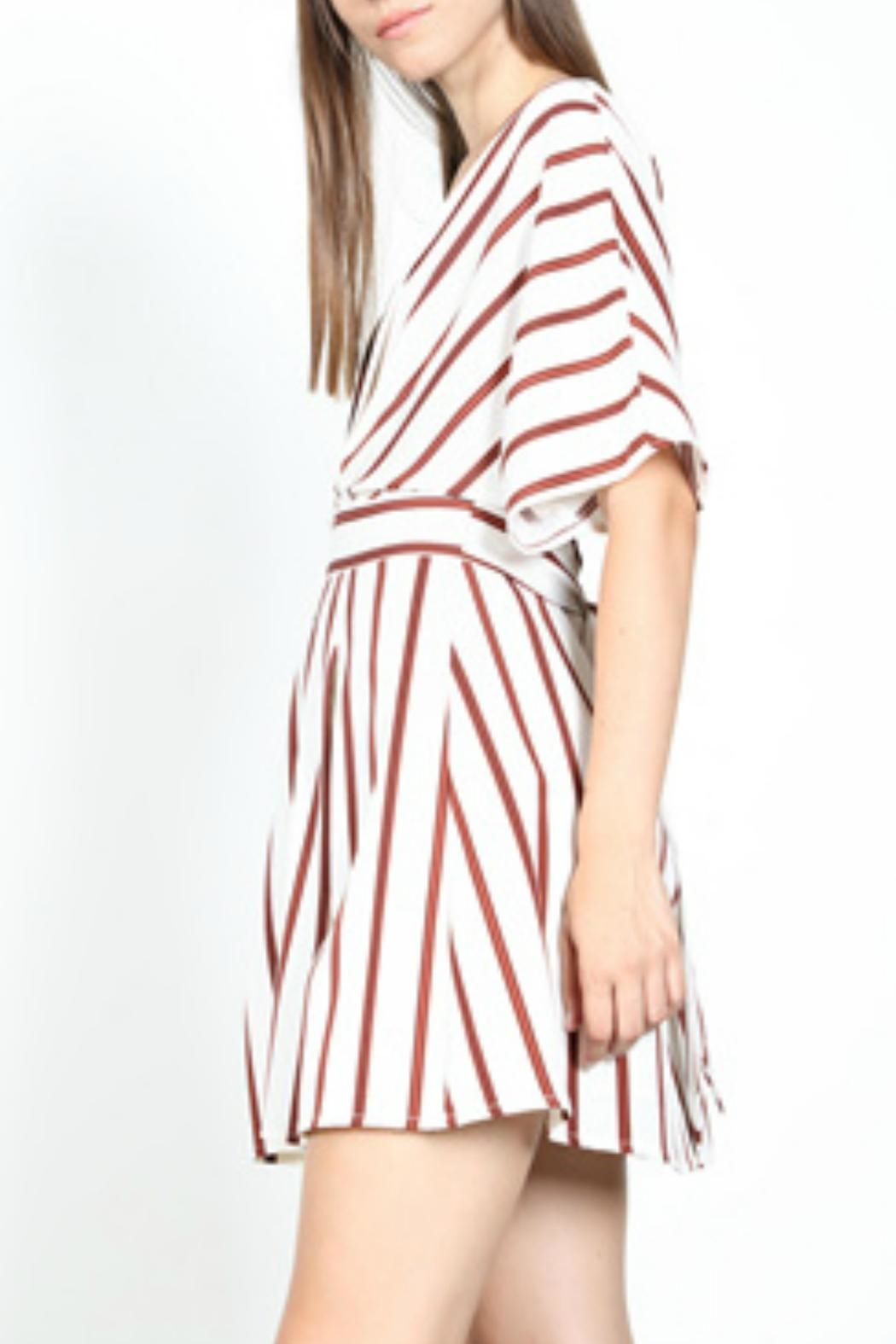 essue Striped Plunge Dress - Side Cropped Image
