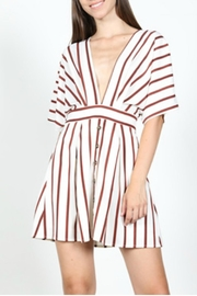 essue Striped Plunge Dress - Front cropped