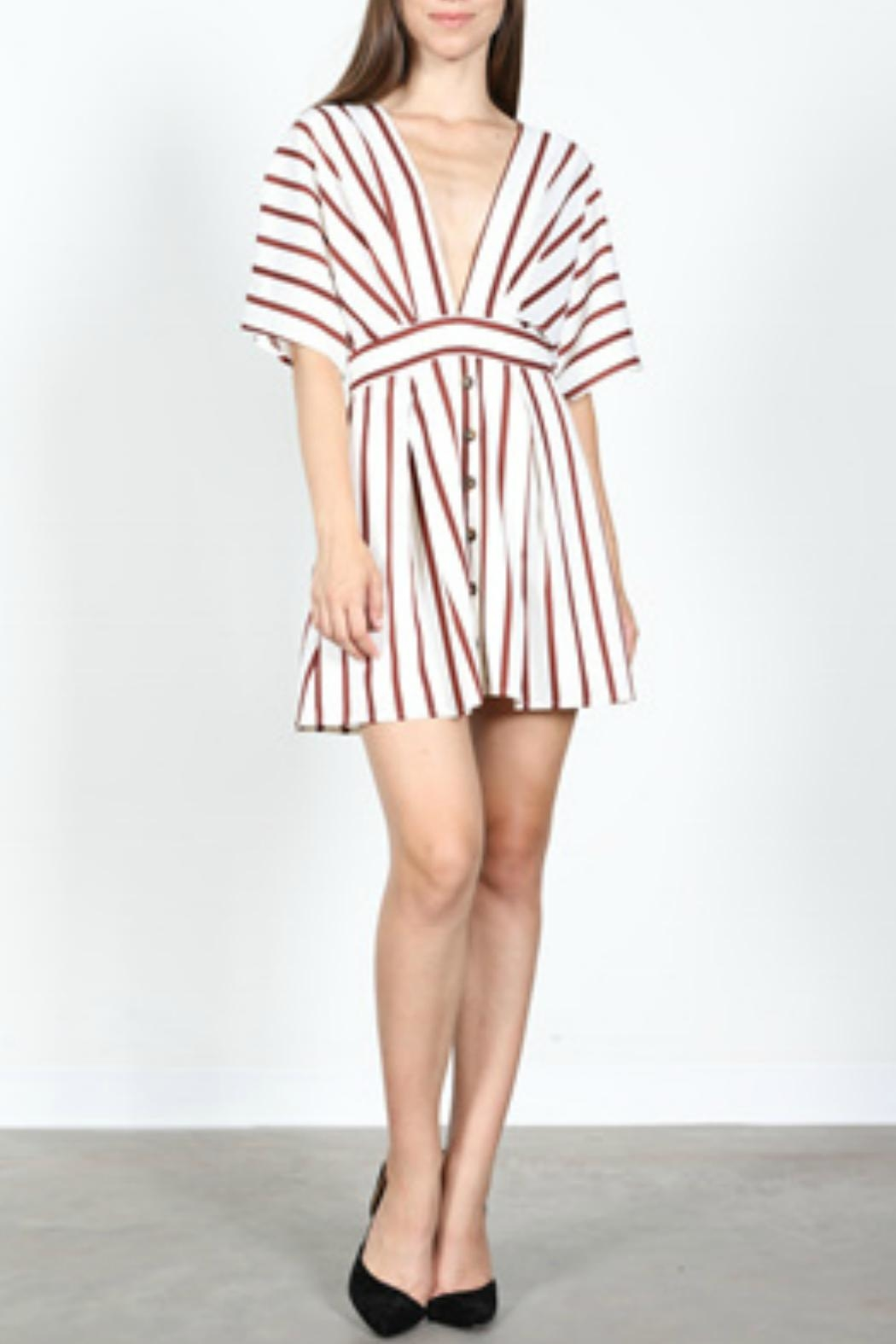 essue Striped Plunge Dress - Front Full Image