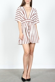 essue Striped Plunge Dress - Front full body