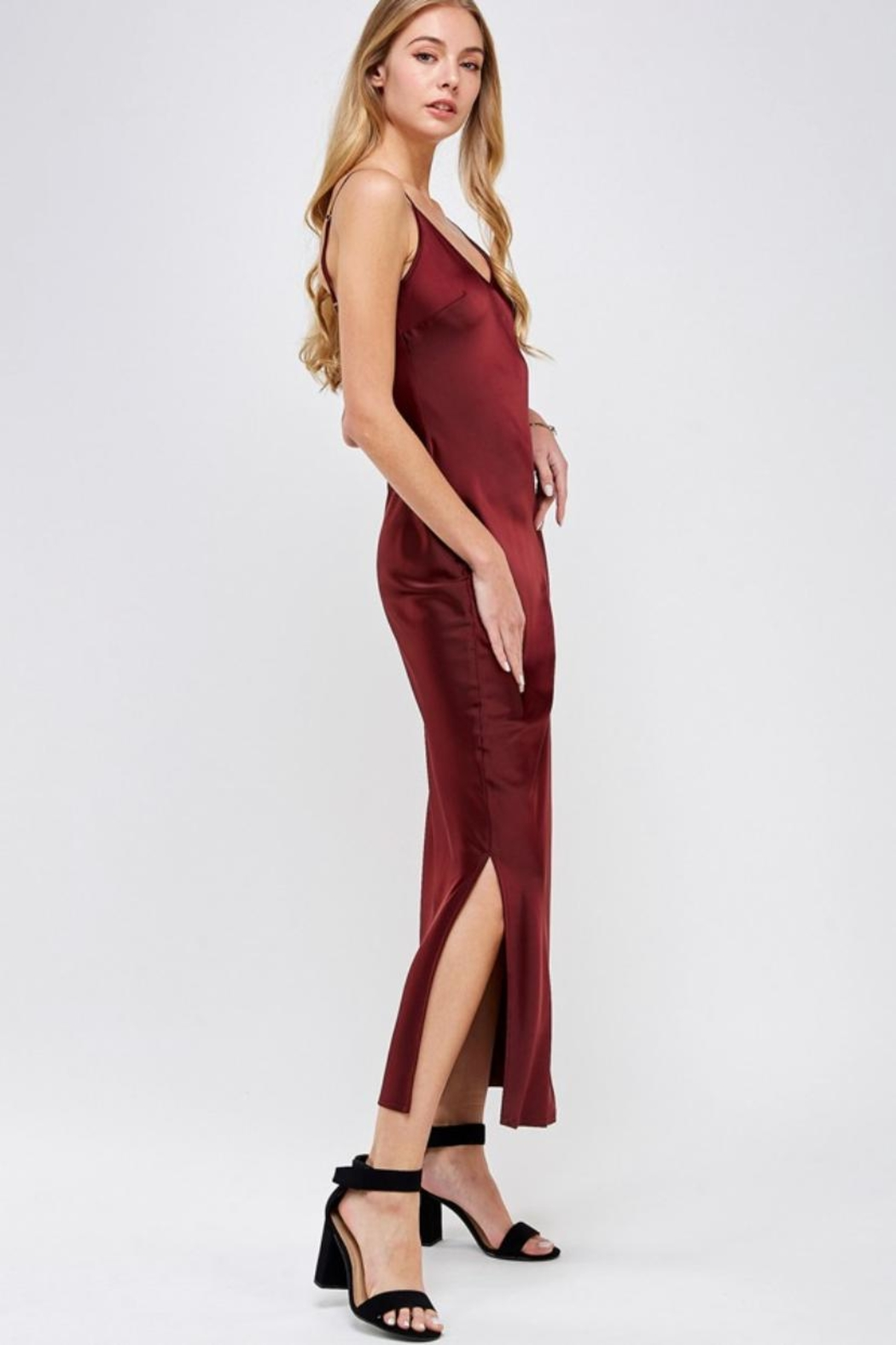 essue Wine Slip Dress - Side Cropped Image